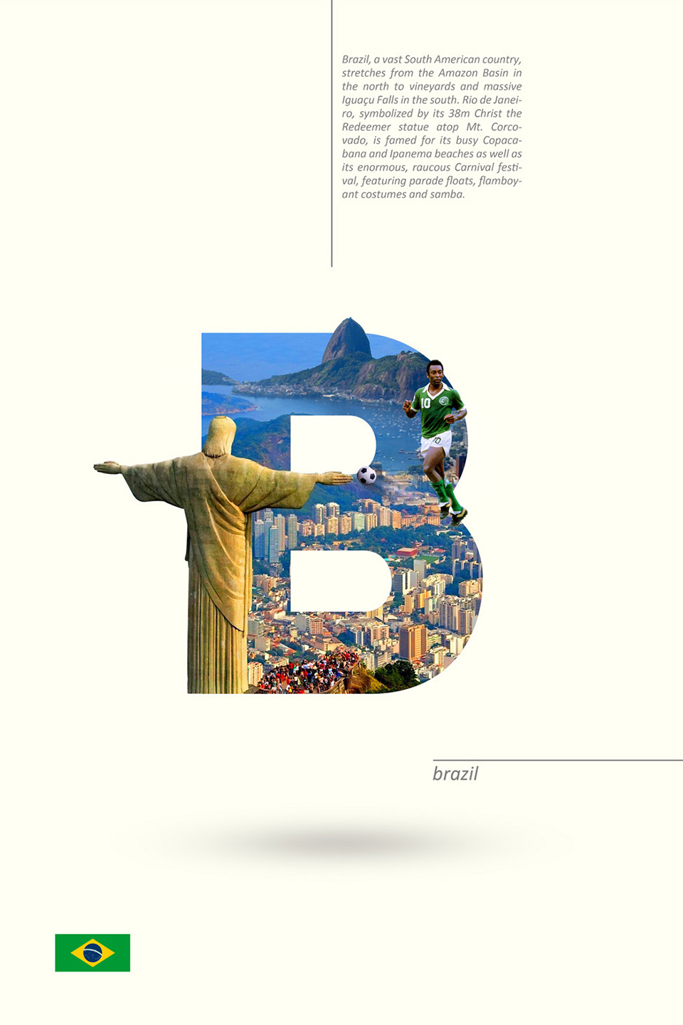 Beautiful Alphabet Series Of Countries And Their Iconic Landmarks - Brazil