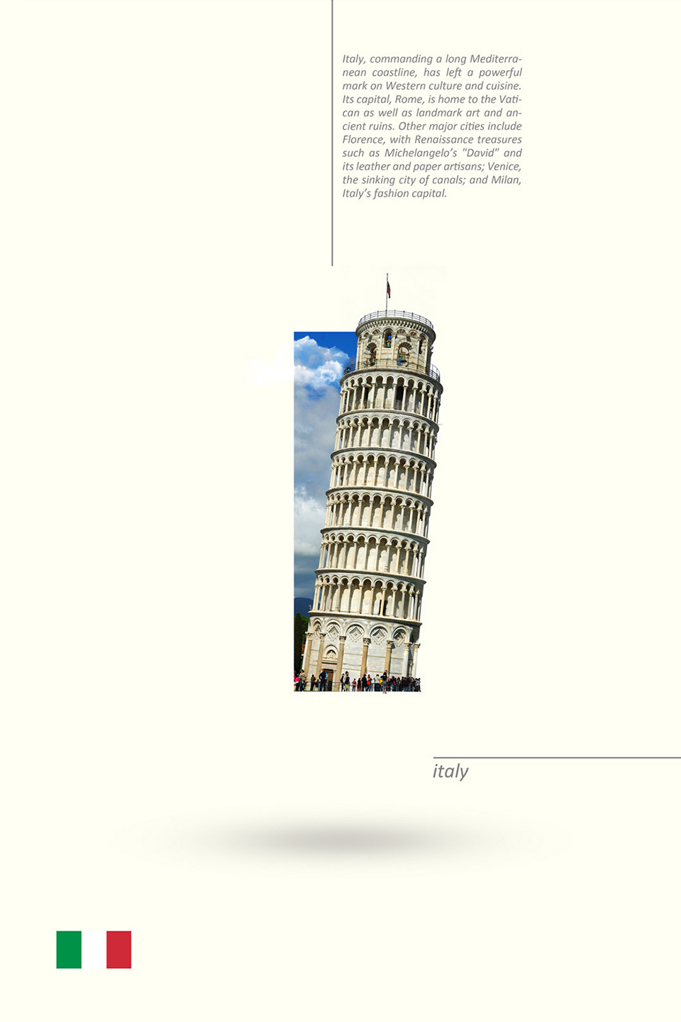 Beautiful Alphabet Series Of Countries And Their Iconic Landmarks - Italy