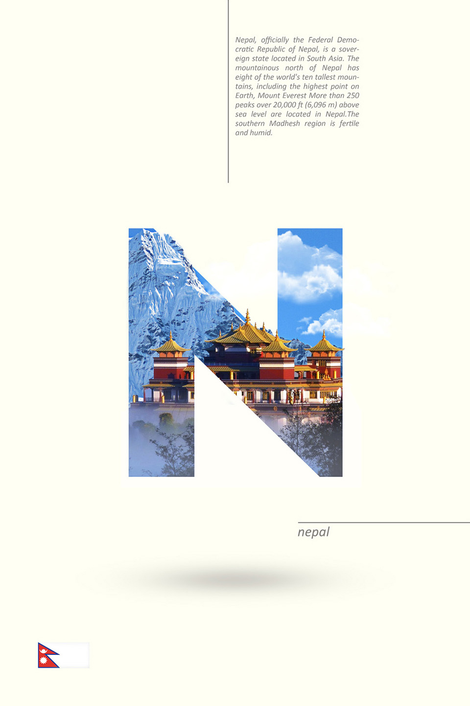 Beautiful Alphabet Series Of Countries And Their Iconic Landmarks - Nepal