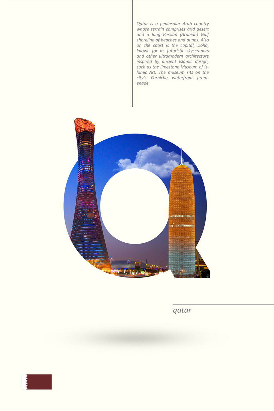 Beautiful Alphabet Series Of Countries And Their Iconic Landmarks - Qatar