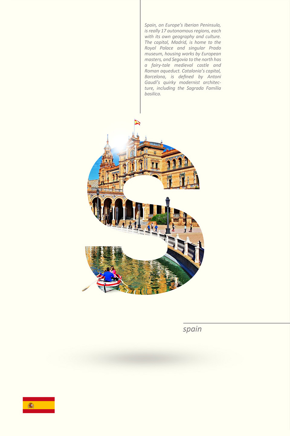 Beautiful Alphabet Series Of Countries And Their Iconic Landmarks - Spain