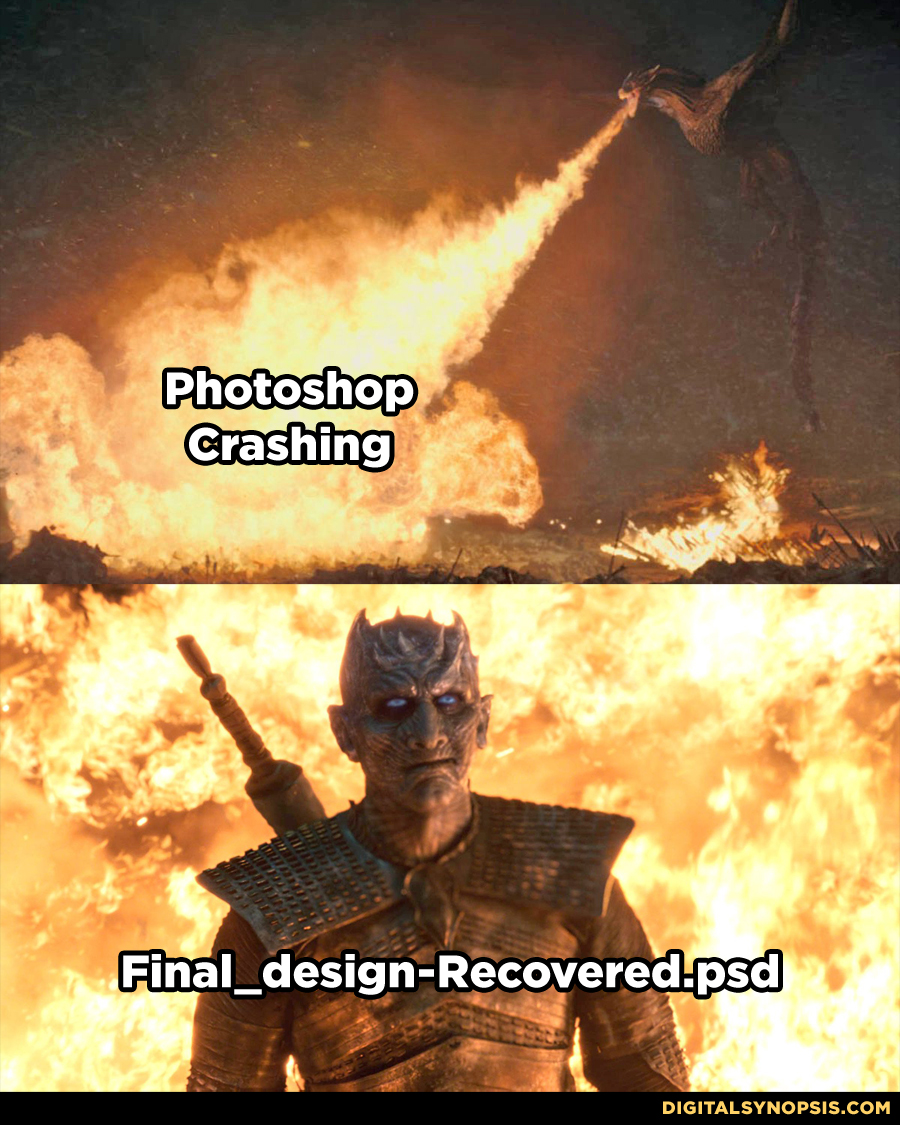 Photoshop crashing (Dragon fire) vs. Final_design-Recovered.psd (Night King)