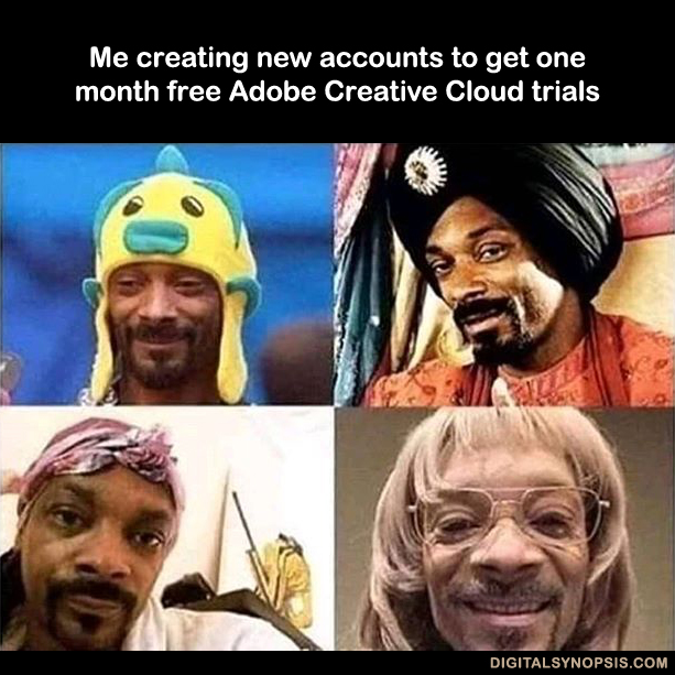 Me creating new account to get one month free Adobe Creative Cloud trials