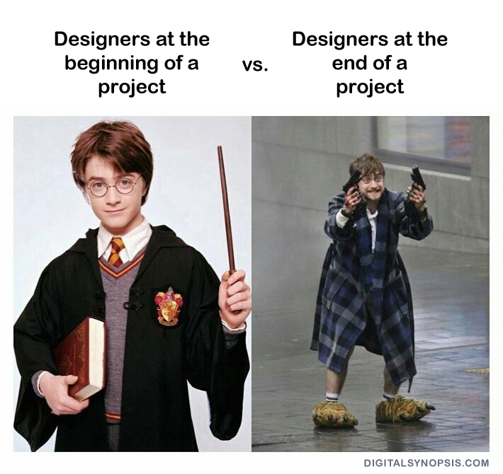 Designer at the beginning of a project vs. Designers at the end of a project