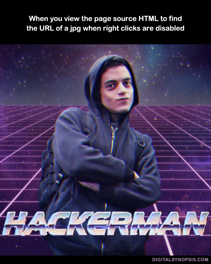 When you view the page source HTML to find the URL of a jpg when right clicks are disabled - Hackerman