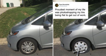 "Man Photoshops Flat Tire To Skip Work, Calls It His ""Proudest Moment"""