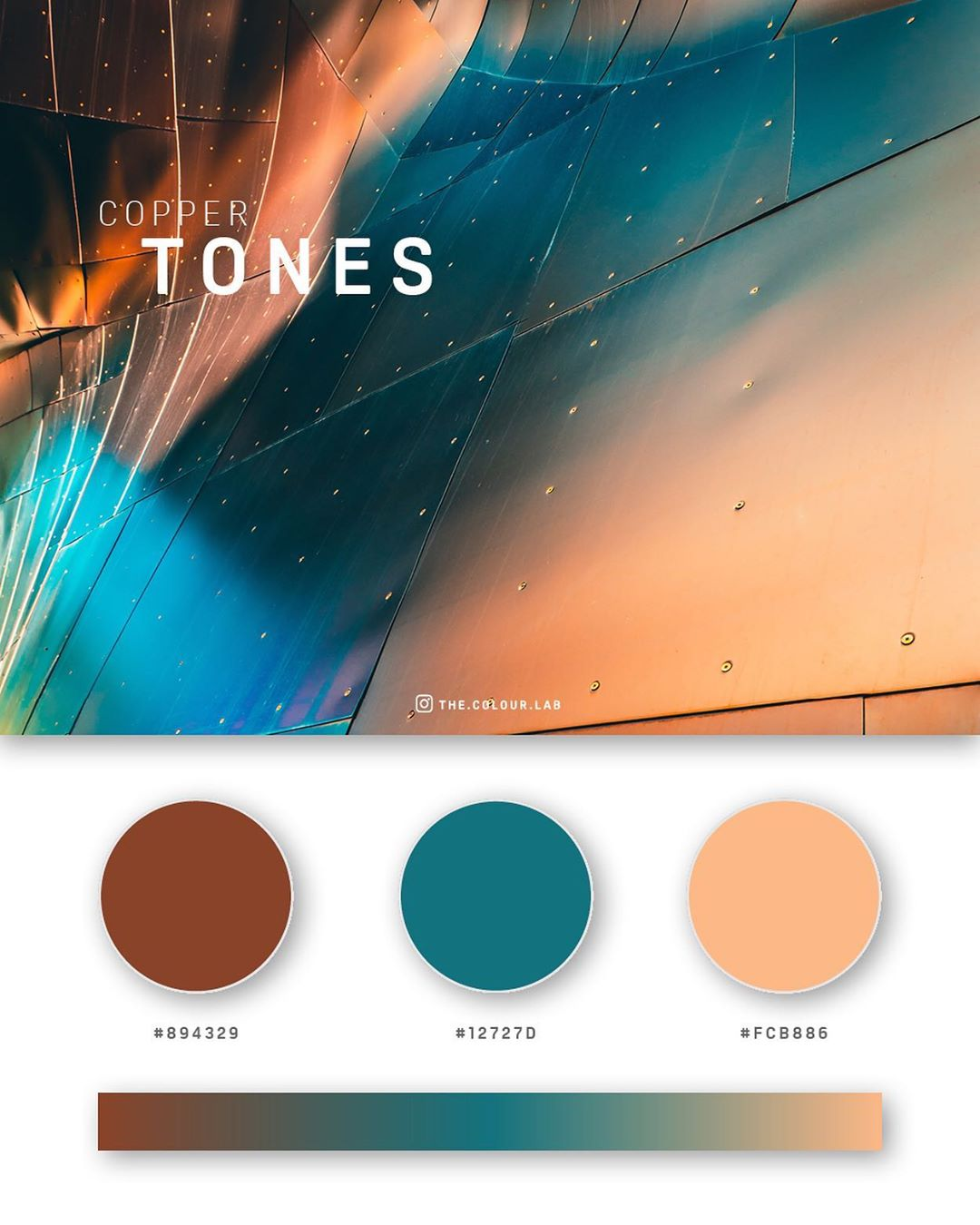 Copper, teal, orange color palettes, schemes & combinations