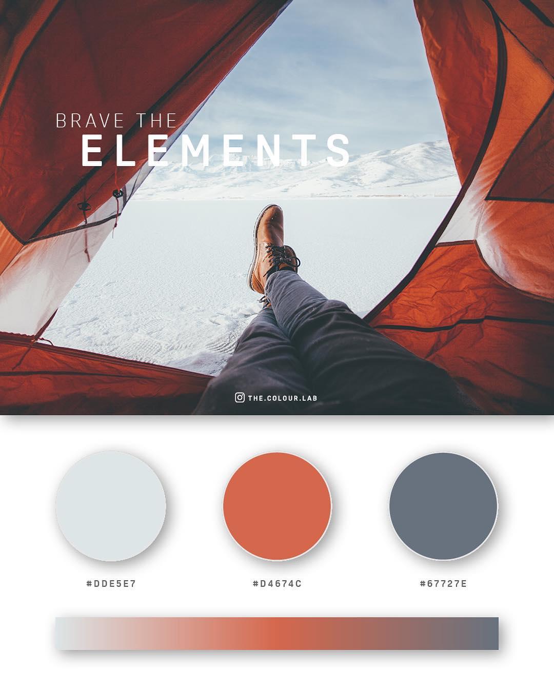 Grey, orange, blue color palettes, schemes & combinations