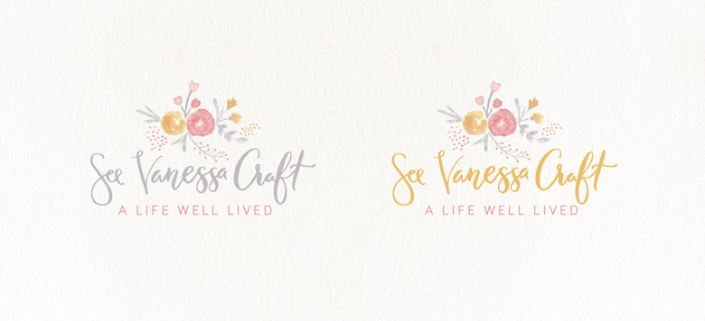 Logo color combinations - Blush pink, grey, and yellow