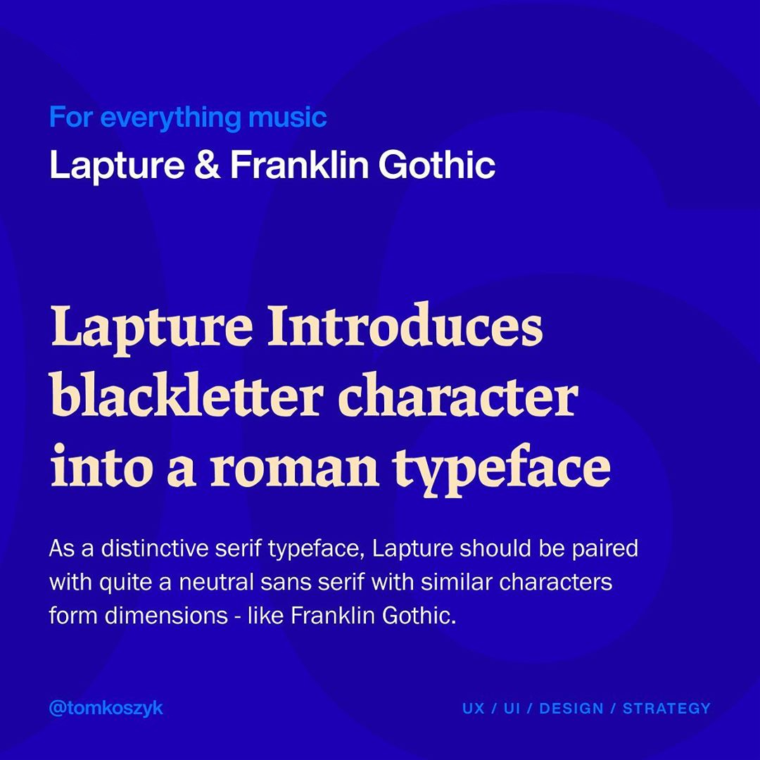 Best Adobe Font Combinations - Lapture & Franklin Gothic