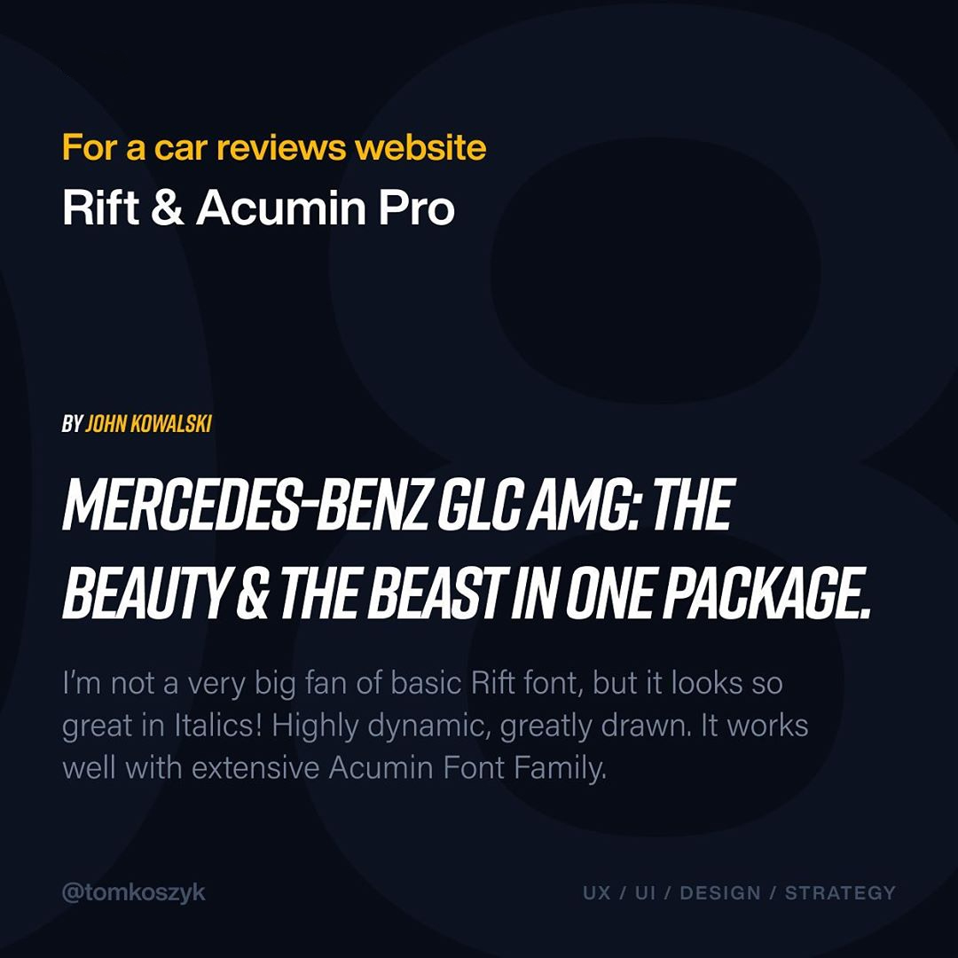 Best Adobe Font Combinations - Rift & Acumin Pro