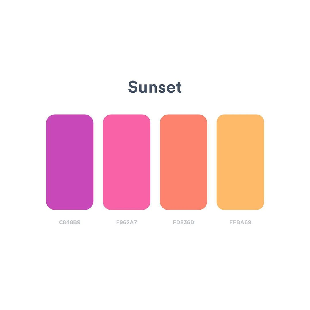 Color schemes, palettes, combinations - Purple, pink, orange, yellow