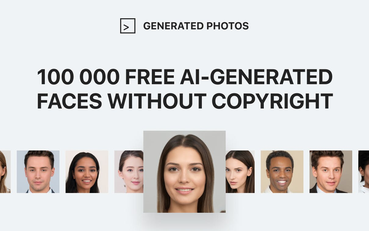 100,000 free AI-generated faces without copyright