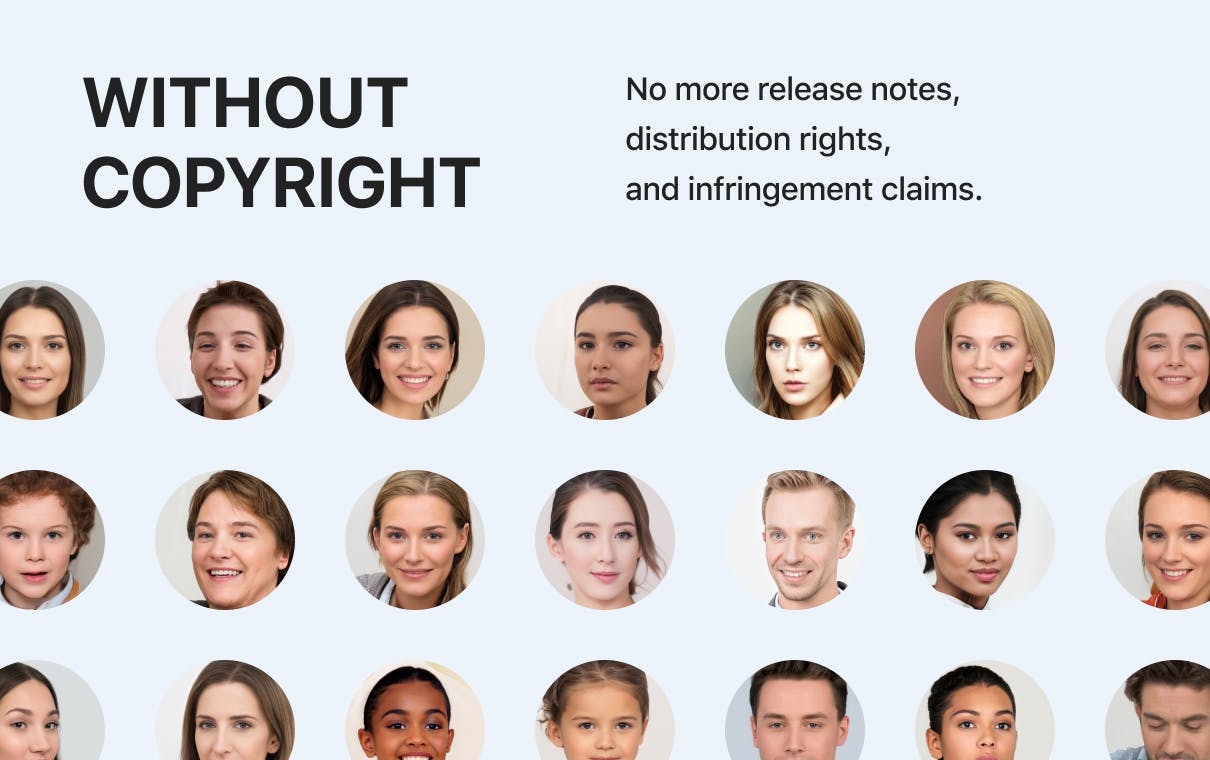 Without copyright - No more release notes, distribution rights, and infringement claims.