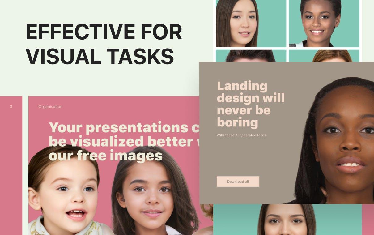 Effective for visual tasks - Presentations, Landing Pages, etc.