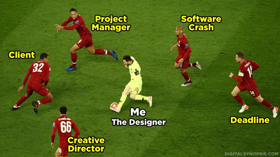 Me (Designer) Messi vs. Client, Project Manager, Creative Director, Software Crash, Deadline