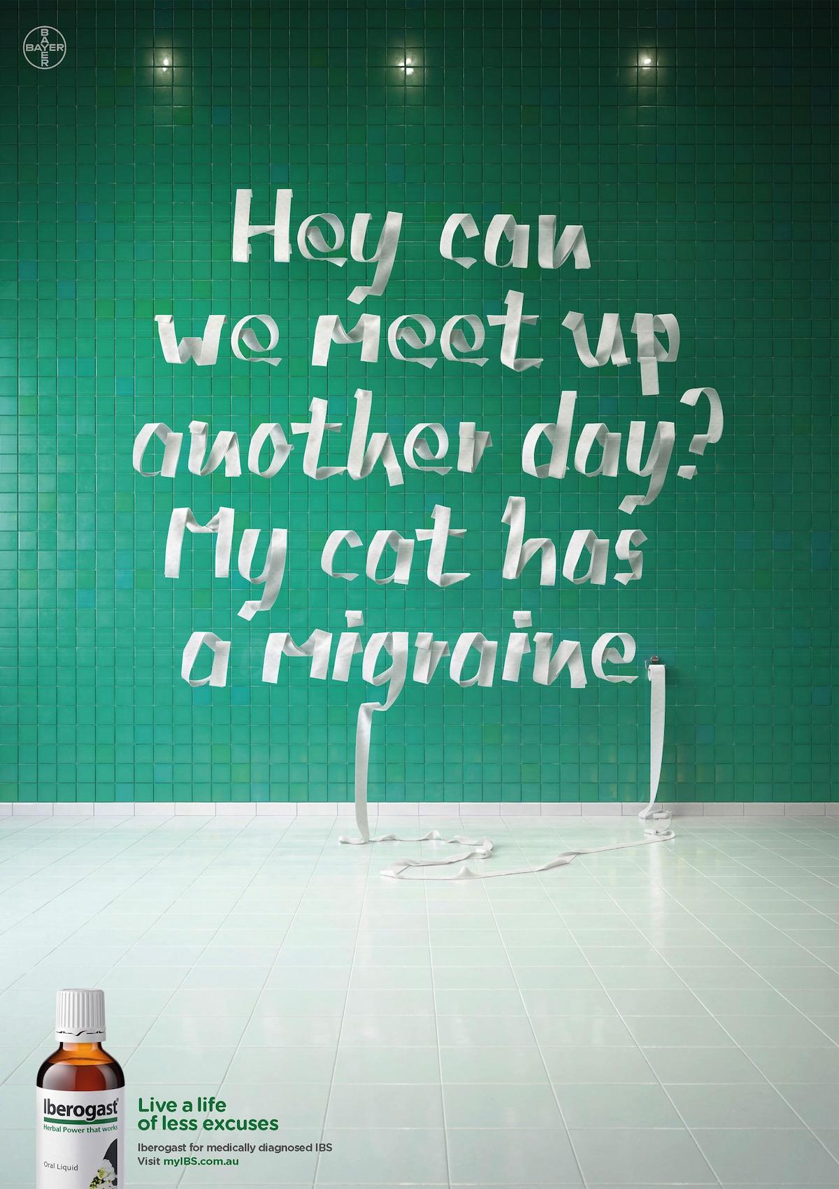 Creative Typography Ads - Bayer Iberogast: Less Excuses