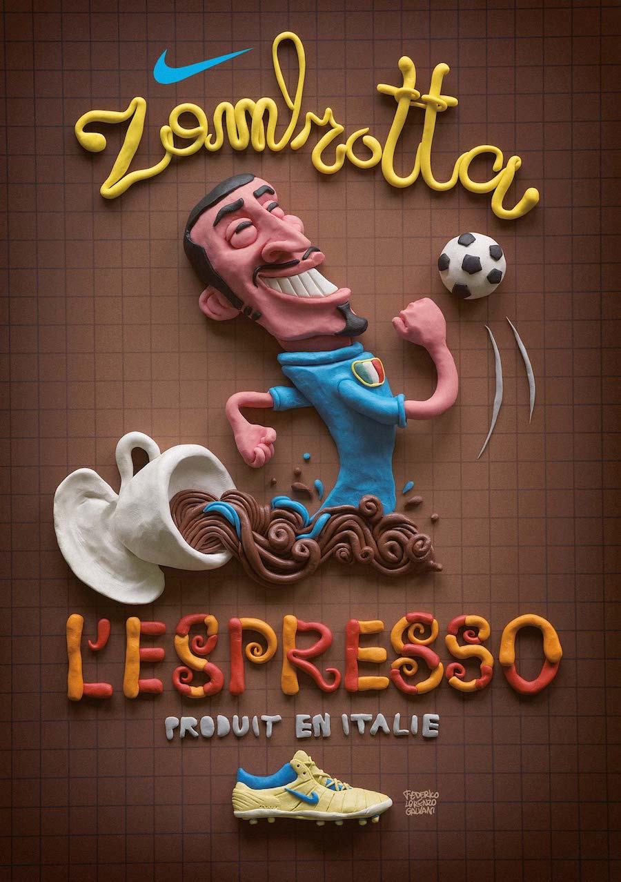 Creative Typography Ads - Nike Italy: Zambrotta l'Espresso