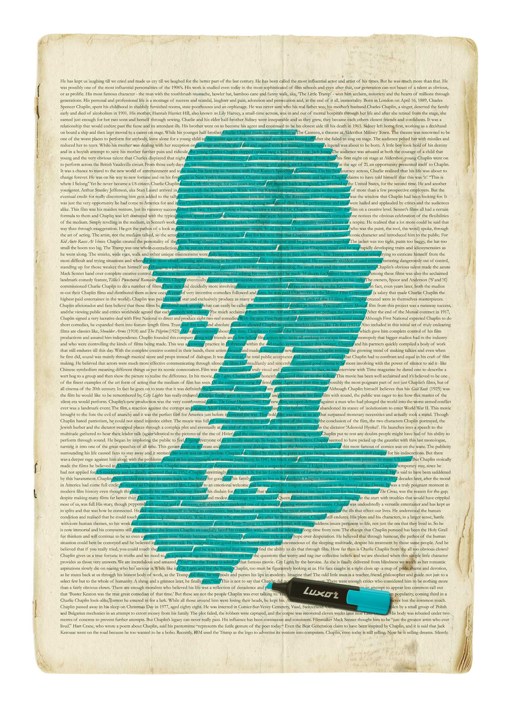 Creative Typography Ads - Luxor: Highlight What's Important (Chaplin)