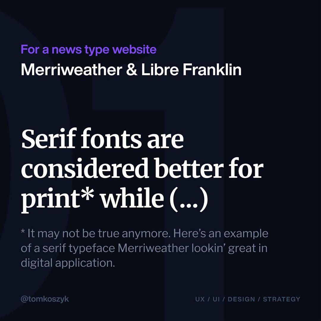 Best Google Font Combinations - Merriweather & Libre Franklin