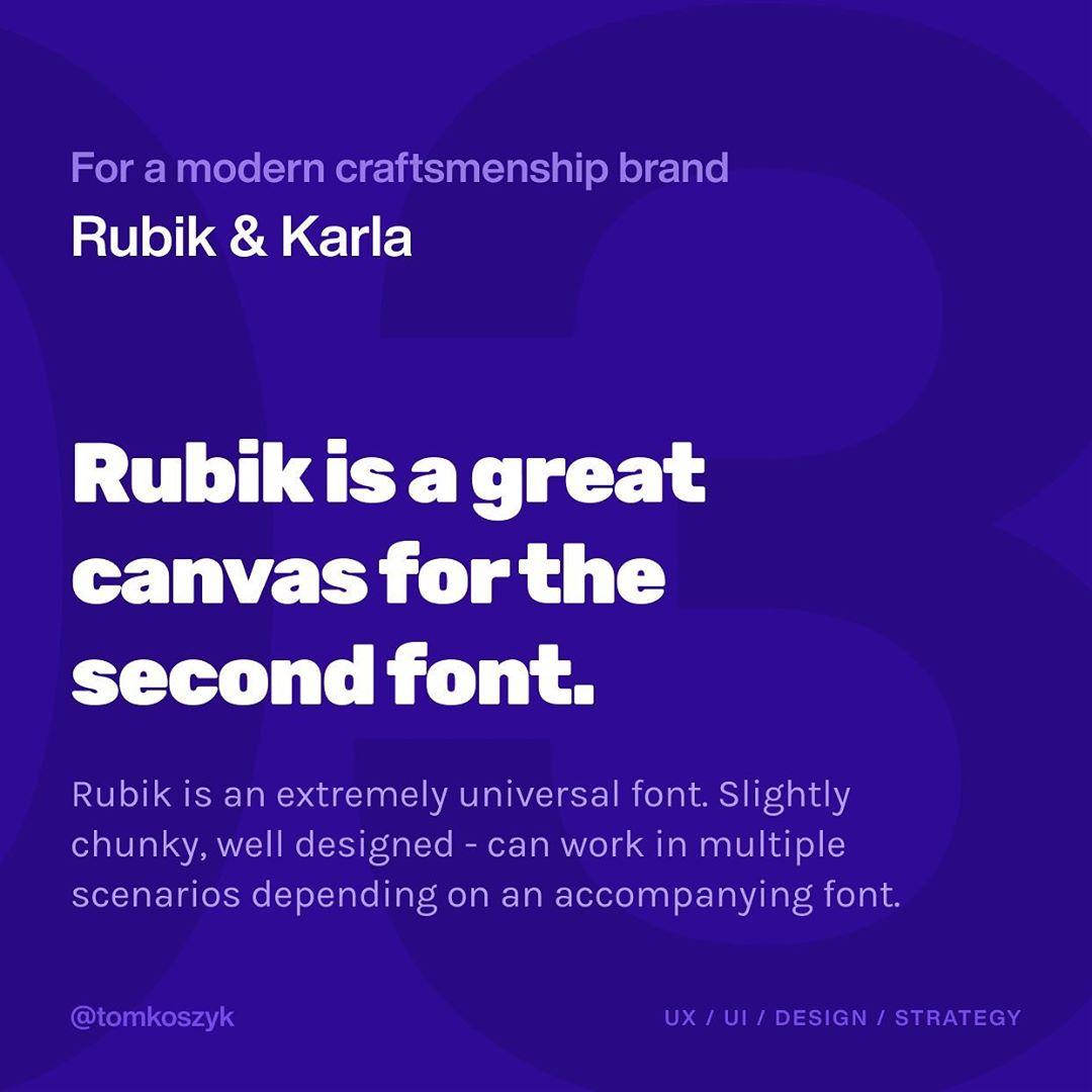 Best Google Font Combinations - Rubik & Karla