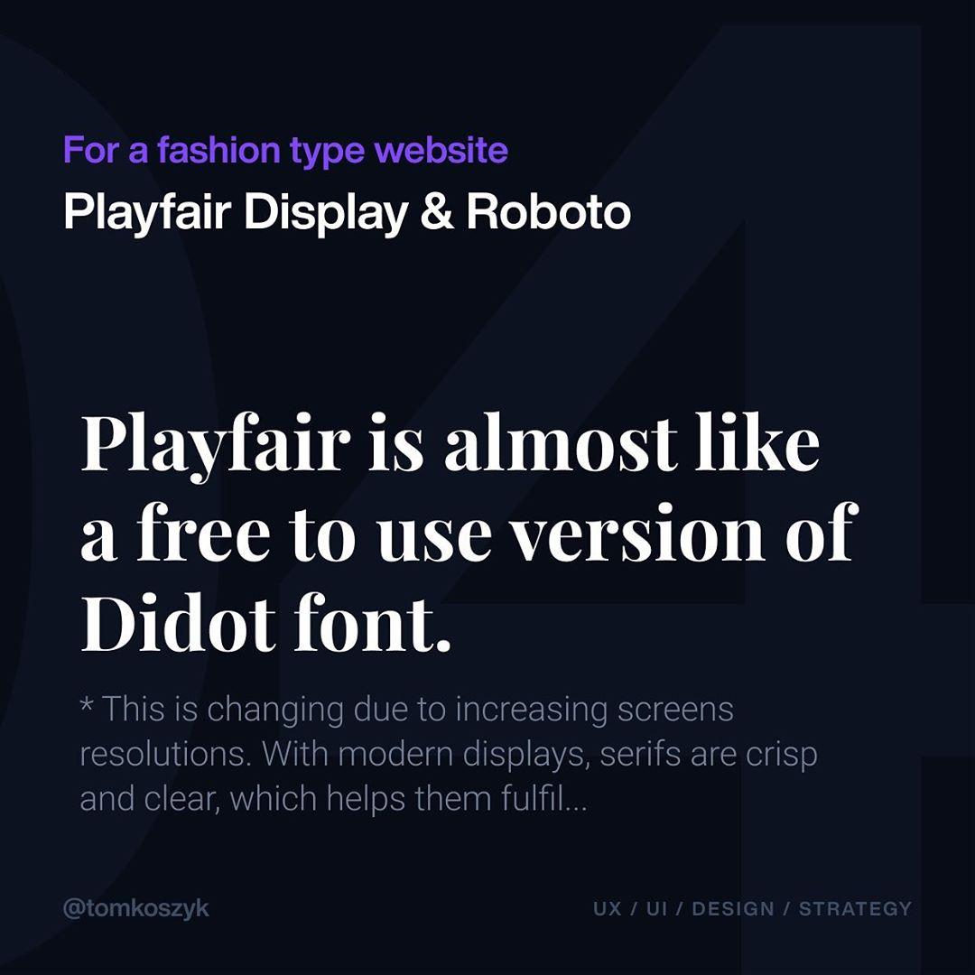 Best Google Font Combinations - Playfair Display & Roboto