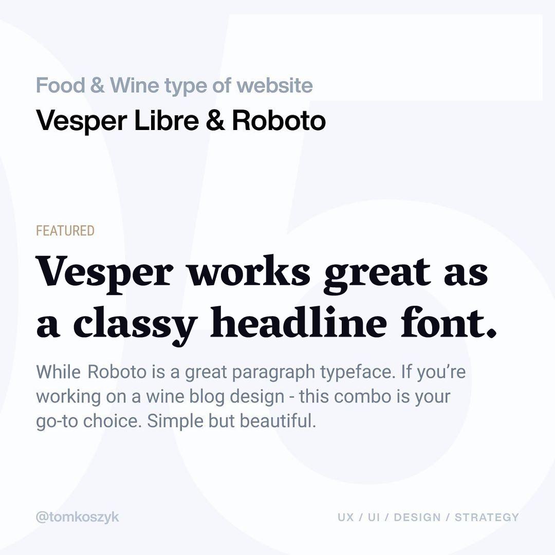 Best Google Font Combinations - Vesper Libre & Roboto