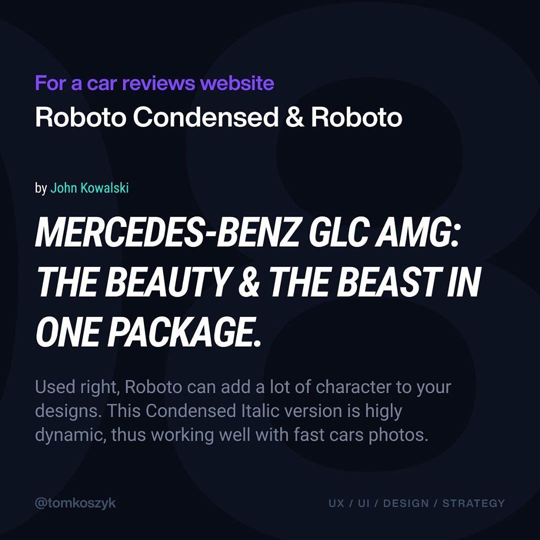 Best Google Font Combinations - Roboto Condensed & Roboto