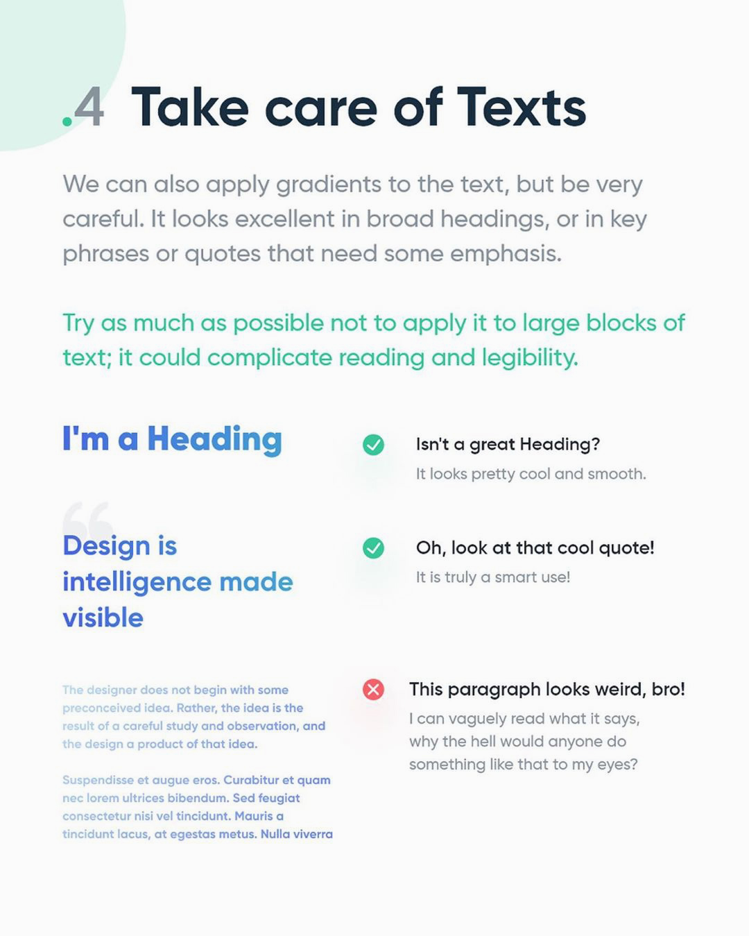 How to create better gradients - Take care of Texts