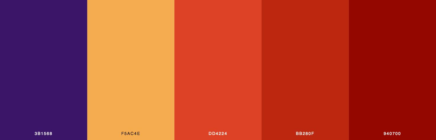 Purple, Yellow, Orange, Red Color Scheme & Palette