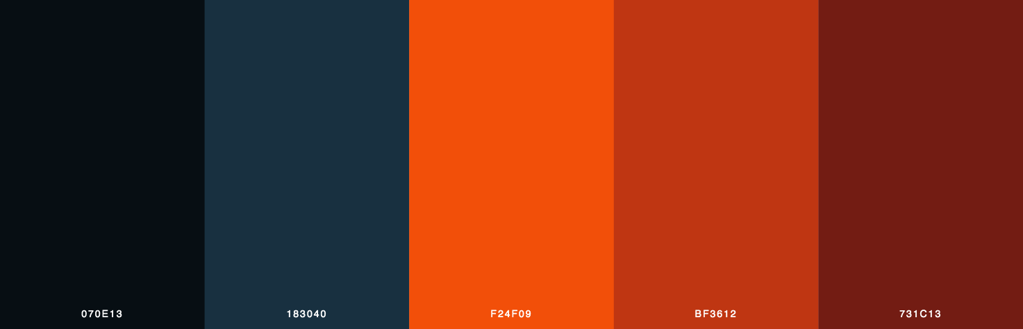 Black, Blue, Orange, Red Color Scheme & Palette