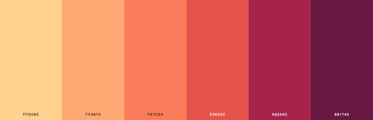 Yellow, Orange, Red, Maroon Color Scheme & Palette