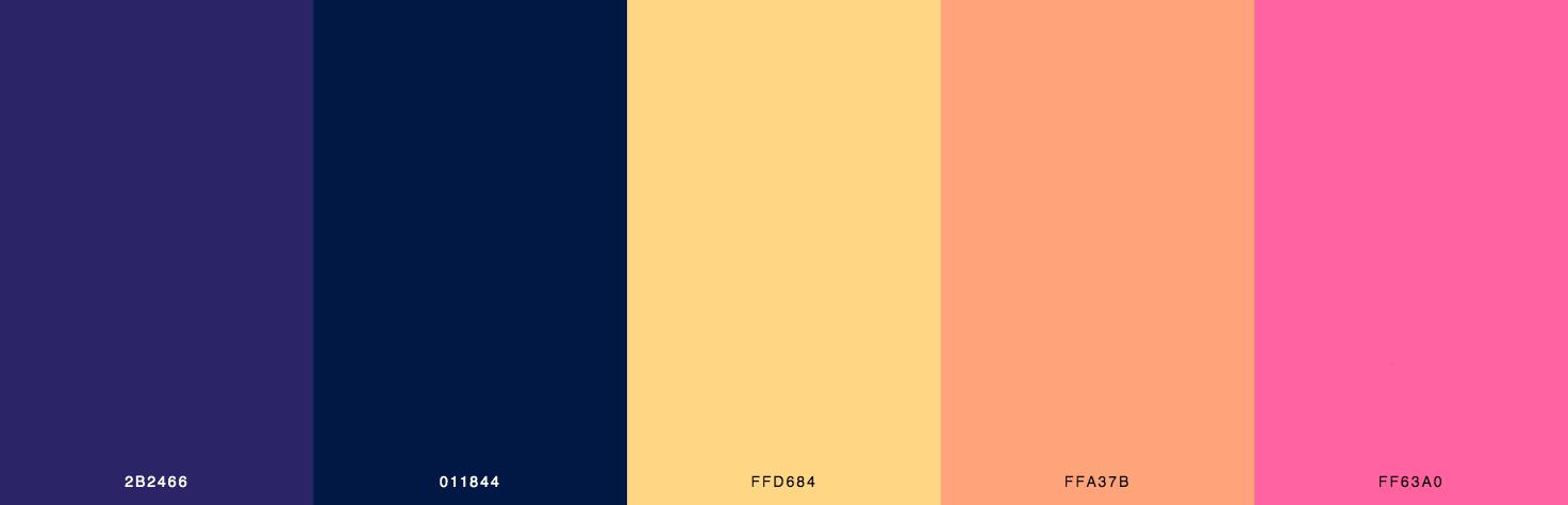 Blue, Yellow, Orange, Pink Color Scheme & Palette