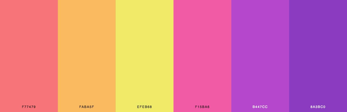 Orange, Yellow, Pink, Purple Color Scheme & Palette