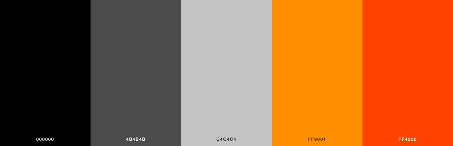 Black, Grey, Orange, Red Color Scheme & Palette