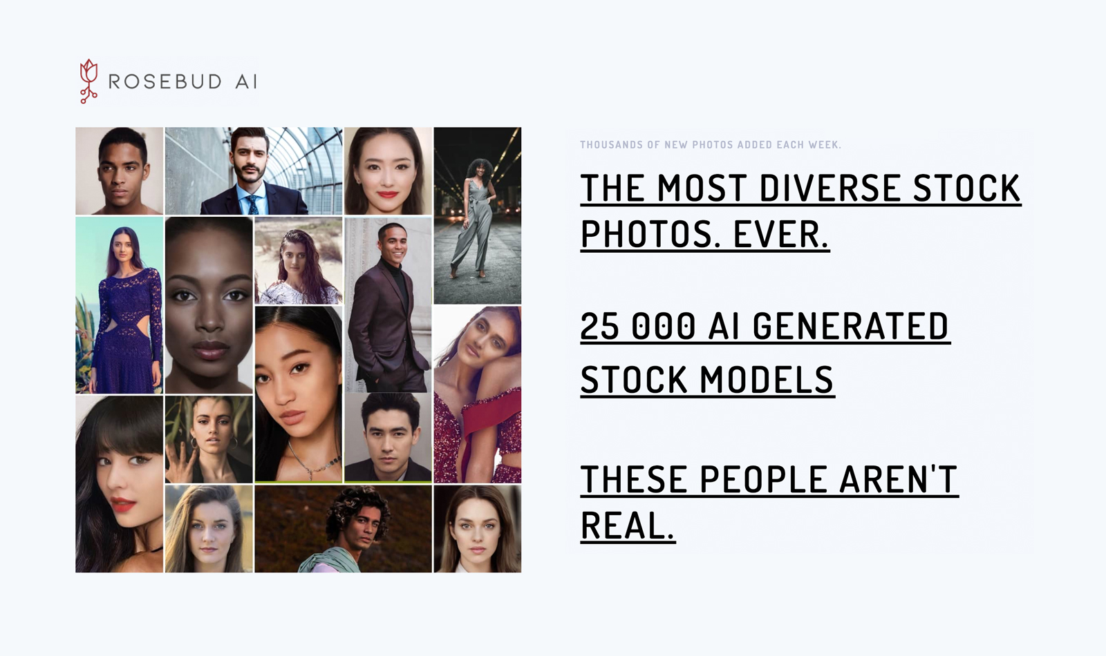 The most diverse stock photos ever. 25000 AI generated stock models. These people aren't real.