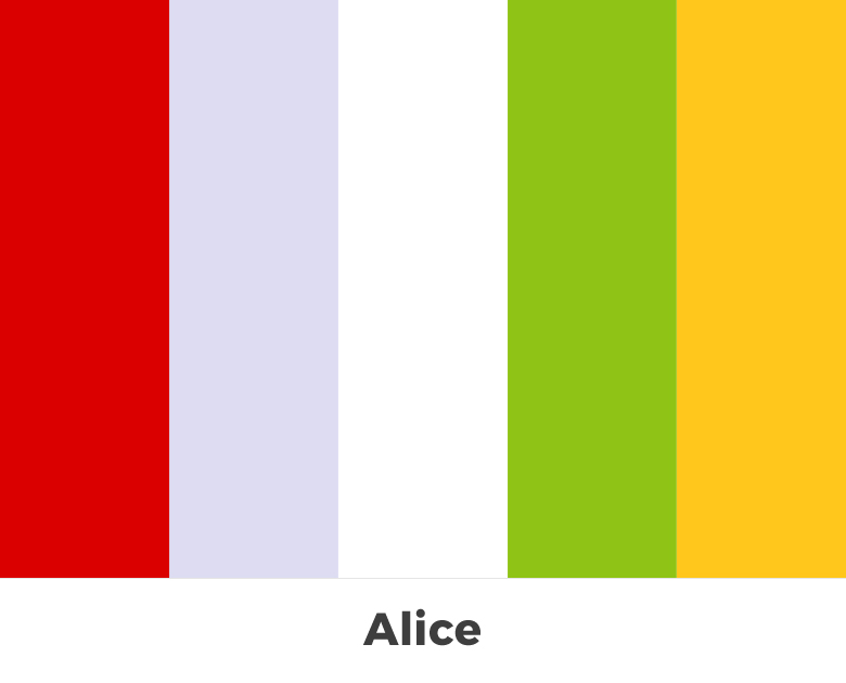 Create color palette from the letters of your name - Alice