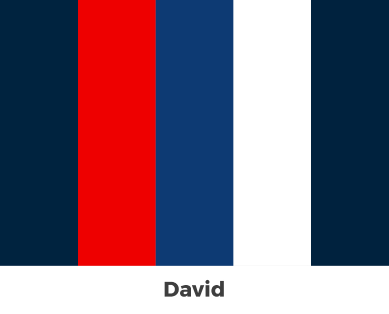 Create color palette from the letters of your name - David