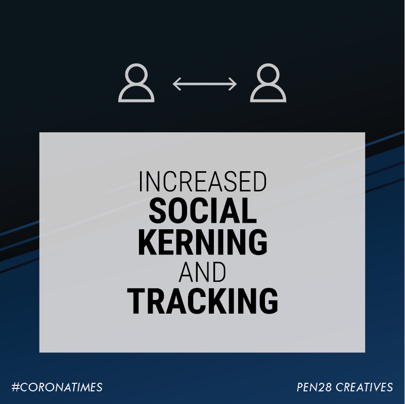 Increased social kerning and tracking