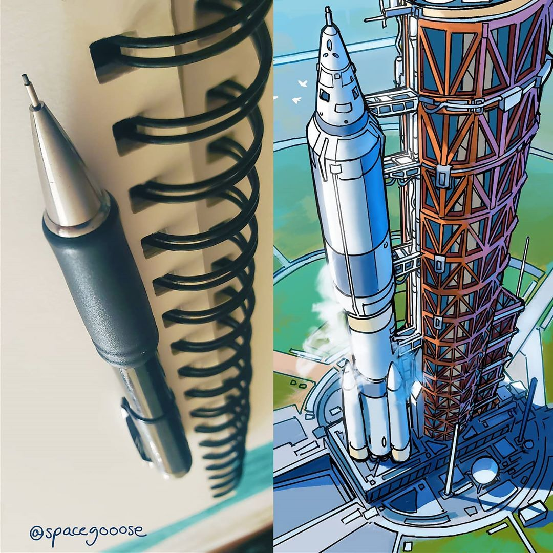 Everyday objects turned into spaceship illustrations (10)