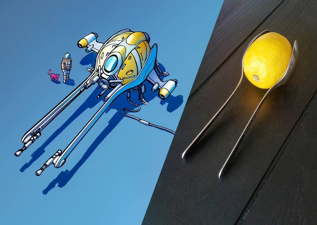 Everyday objects turned into spaceship illustrations (11)