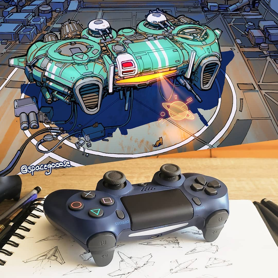 Everyday objects turned into spaceship illustrations (14)