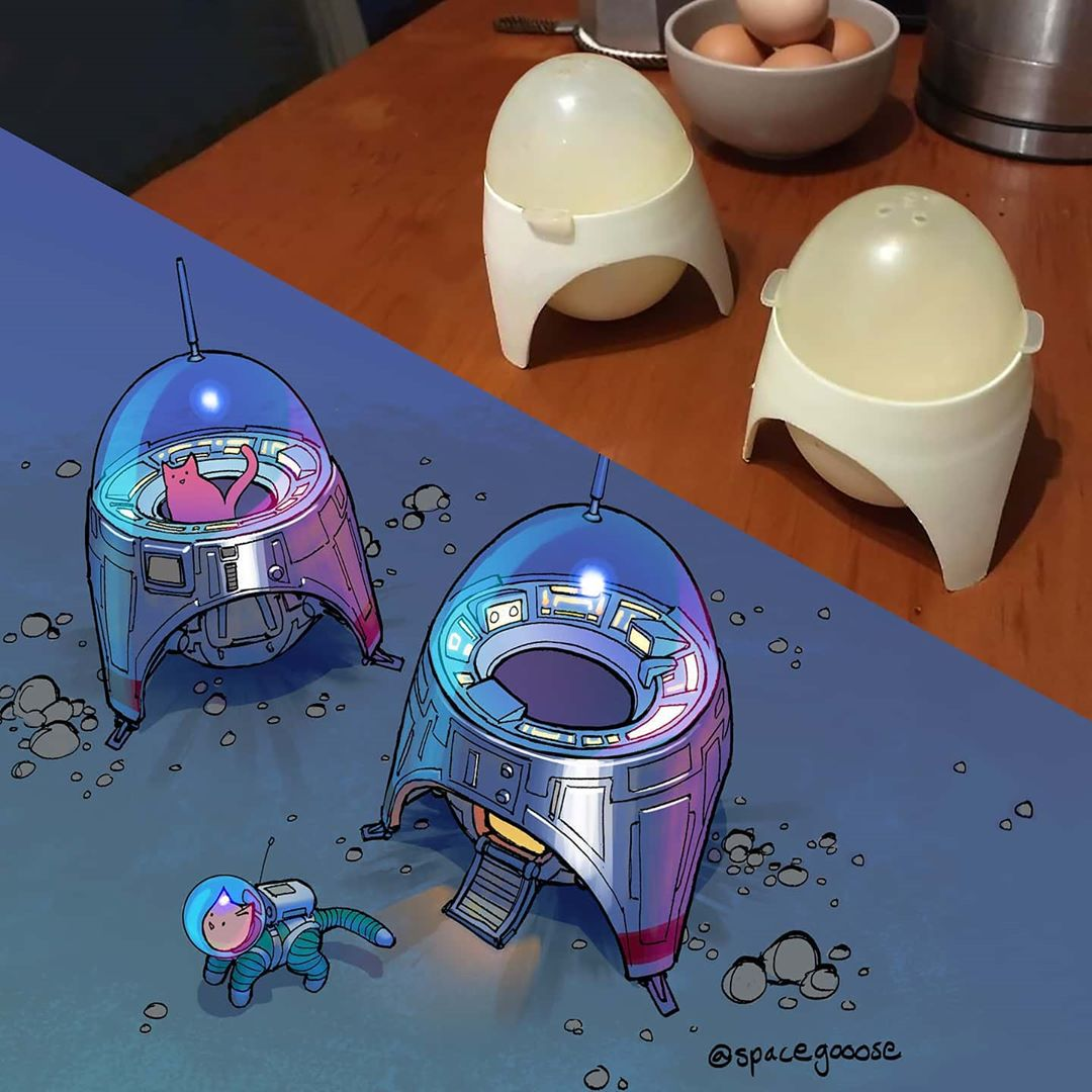 Everyday objects turned into spaceship illustrations (20)