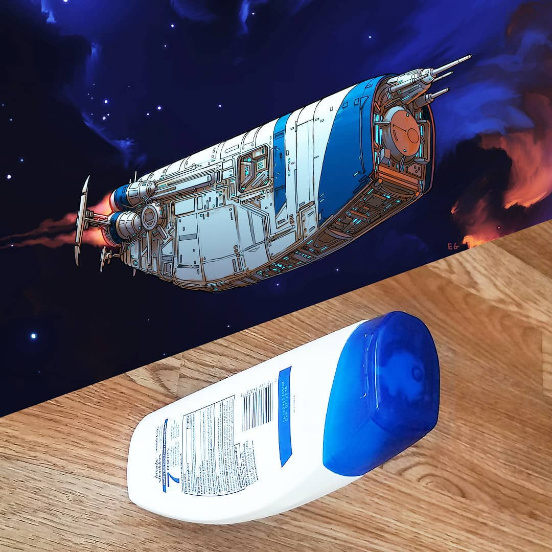 Everyday objects turned into spaceship illustrations (3a)