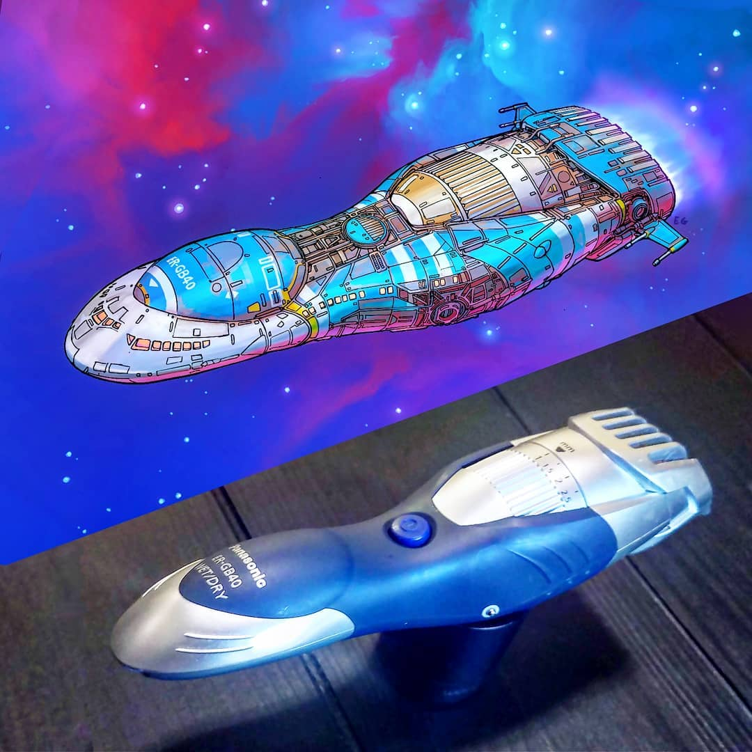 Everyday objects turned into spaceship illustrations (4a)
