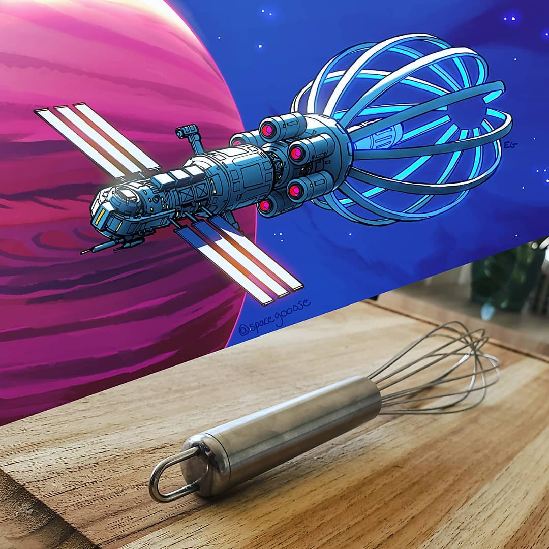 Everyday objects turned into spaceship illustrations (5a)