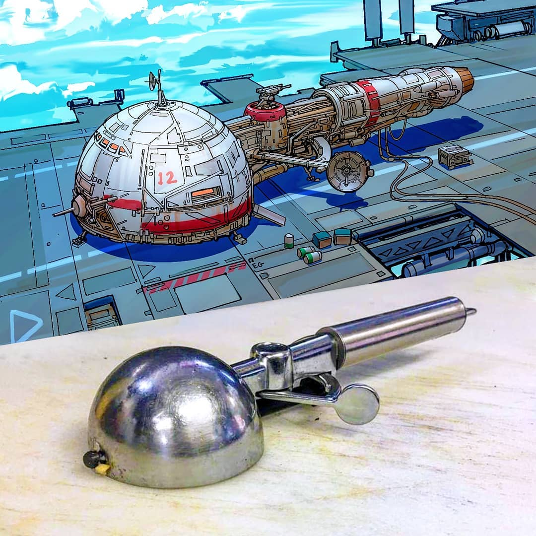 Everyday objects turned into spaceship illustrations (6a)