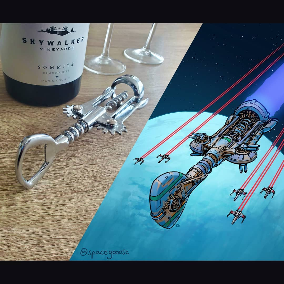 Everyday objects turned into spaceship illustrations (7a)
