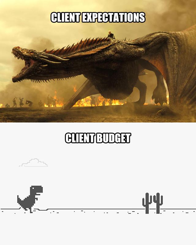 Client Expectations (Drogon) vs. Client Budget (Chrome Dinosaur)
