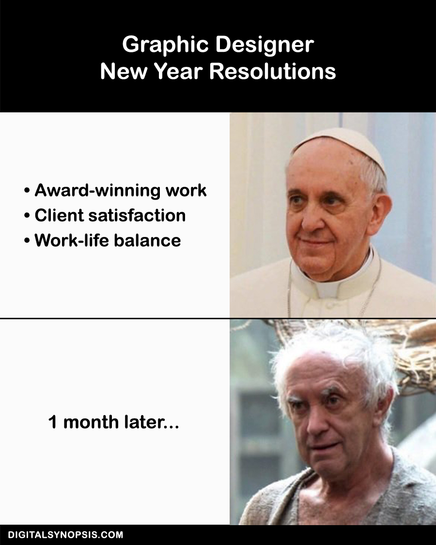 Graphic Designer New Year Resolutions vs. One month later